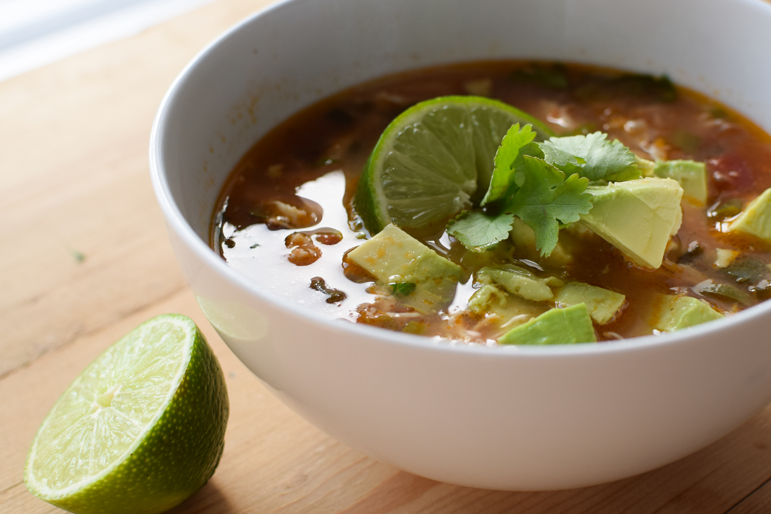 Chicken and Lime Soup With Avocado